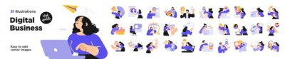 Fototapeta Business Concept illustrations. Mega set. Collection of scenes with men and women taking part in business activities. Vector illustration