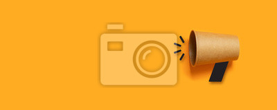 Fototapeta business concept image with paper cup on orange background with copy space