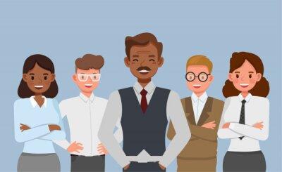 Fototapeta Business our team concept. Businessmen and businesswomen character vector design.