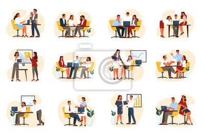 Fototapeta Business people group set on their workplace.