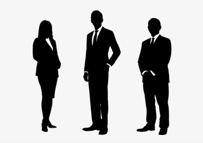 Fototapeta Business people group silhouettes pose on white background, flat line vector and illustration.