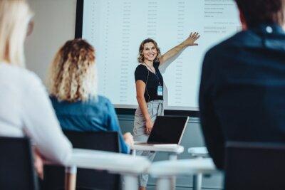 Fototapeta Businesswoman delivering an informative presentation
