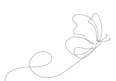 Fototapeta Butterfly Continuous One Line Drawing. Simple Butterfly One Line Drawing. Minimalist Contour Illustration. Vector EPS 10.