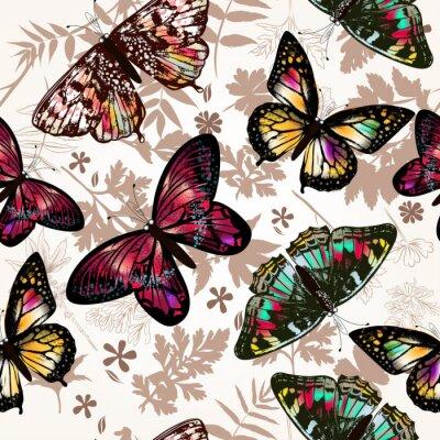Fototapeta Butterfly piękne bez szwu deseń