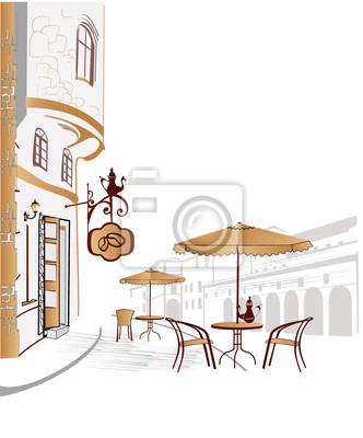 Cafe ulicy w mieście