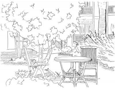 Fototapeta Cafe w ogrodzie
