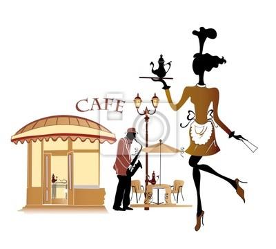 Cafe z pięknym kelnerka i muzyk