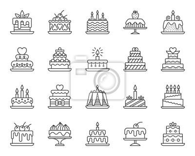 Fototapeta Cake Dessert simple black line icons vector set