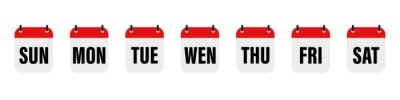 Fototapeta Calender , days of the week. Set every day a week . Vector icon. Flat, red and white calendar, icon set for the week.