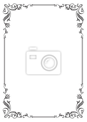 Fototapeta Calligraphic floral frame and page decoration. Vector illustration. Vector of decorative vertical element, border and frame.