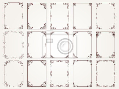 Fototapeta Calligraphic frames. Borders corners ornate frames for certificate floral classic vector designs collection. Illustration of filigree border card, floral rectangular frame