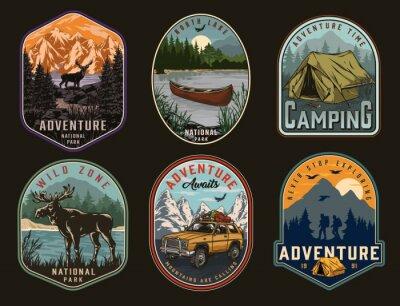 Fototapeta Camping and national park vintage labels