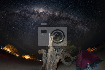 Fototapeta Camping pod rozgwieżdżonym niebem i Milky Way łuku, ze szczegółami jego barwnej rdzenia, wyjątkowo jasnym, zdobyty w Afryce Południowej. Namiot i Acacia pnia w planie. Przygoda na wolność.