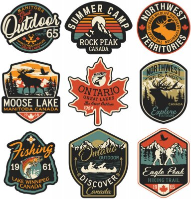 Fototapeta Canada outdoor adventure labels and patches vector collection