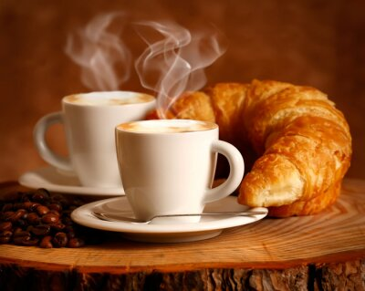 Fototapeta Cappuccino caldo e Brioche