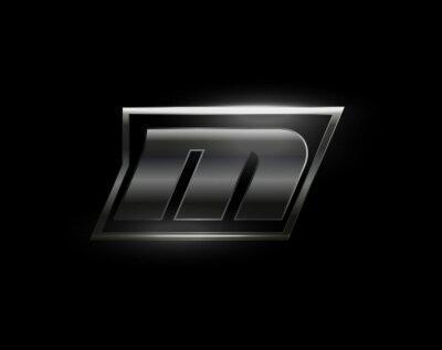 Fototapeta Carbon speed Letter M logo, dark matte metal carbon texture. Drive dynamic steel letter, turbo bold italic chrome logotype for automotive industrial, gym, sport. Vector monogram, emblem