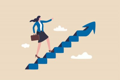 Fototapeta Career success for woman or female leadership, goal achievement and business challenge or gender equality concept, confidence businesswoman take small step walking up staircase with arrow pointing up.