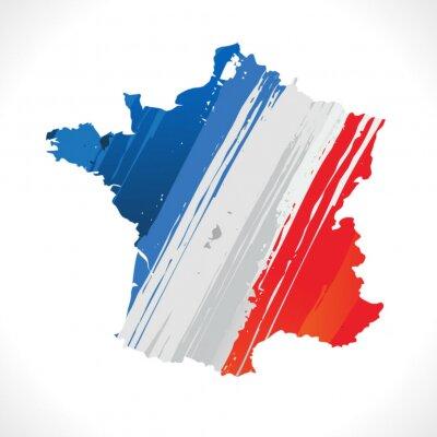 Fototapeta carte de France et drapeau français