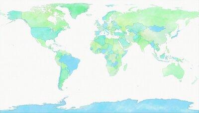 Fototapeta Cartina mondo, disegnata illustrata pennellate, confini Stati