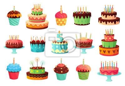 Fototapeta Cartoon birthday party cakes. Sweet baked cake, colourful cupcakes and celebration cakes. Birthdays holiday dessert, anniversary cake and cupcake decoration. Isolated vector illustration icons set