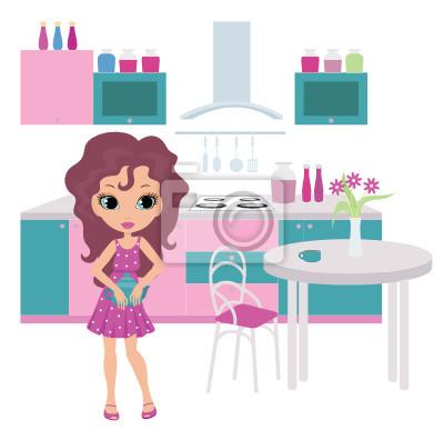 Cartoon dziewczyna w kuchni ponosi czajnik. wektor