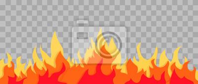 Fototapeta Cartoon fire flame frame. orange fire border on transparent background