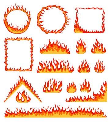 Fototapeta Cartoon fire frame. Red hot burning circle and rectangular frames. Horizontal flame border, campfire, blazing fire line effect vector set. Geometric flammable shapes as circle triangle
