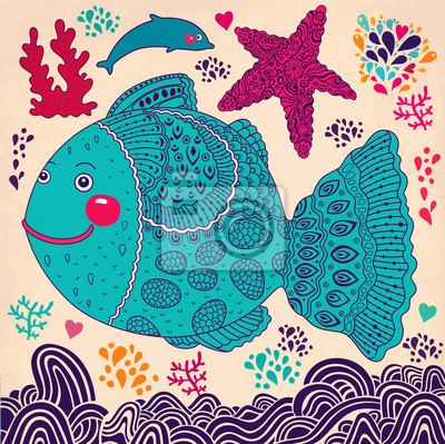 Cartoon ilustracji wektorowych z ryb
