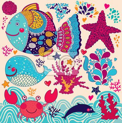 Cartoon ilustracji wektorowych z ryby
