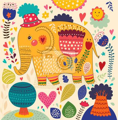 Fototapeta Cartoon ilustracji wektorowych z słonia