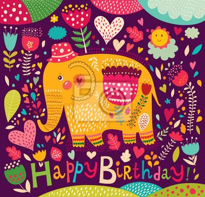 Cartoon ilustracji wektorowych z słonia