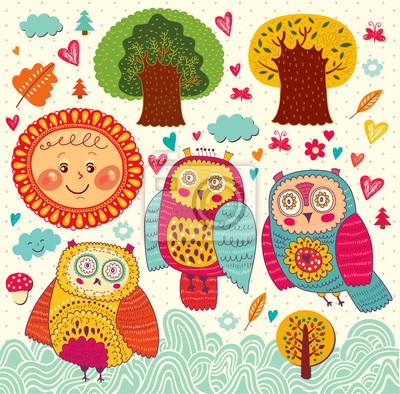 Cartoon ilustracji wektorowych z sowy i drzew
