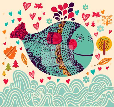 Fototapeta Cartoon ilustracji wektorowych z wieloryba