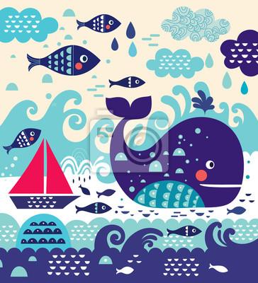 Cartoon ilustracji wektorowych z wieloryba i ryb