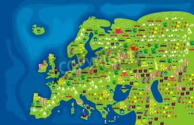 Fototapeta cartoon map of europe