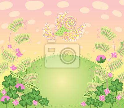 Fototapeta Cartoon romantyczną kartkę w wektorze. Floral tapety z ptakiem.