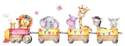 Fototapeta Cartoon train with lion driver and elephant, rhinoceros, giraffe, hippopotamus and zebra on waggons; watercolor hand draw illustration; with white isolated background