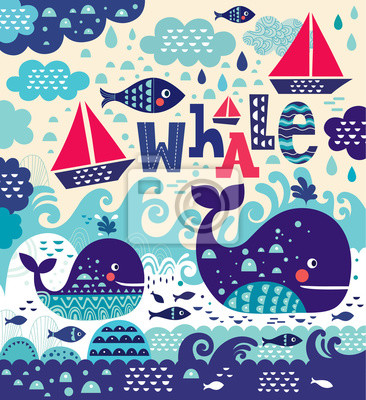 Cartoon vector illustration with whale and fish