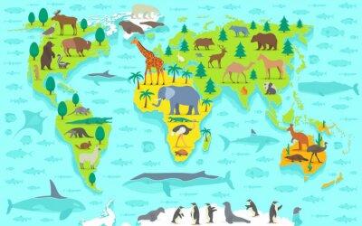 Fototapeta Cartoon Zabawna mapa świata