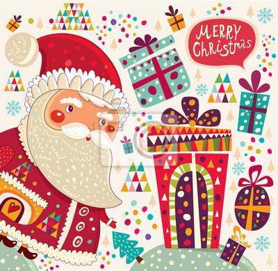 Cartoon zabawny Święty Mikołaj z prezentami