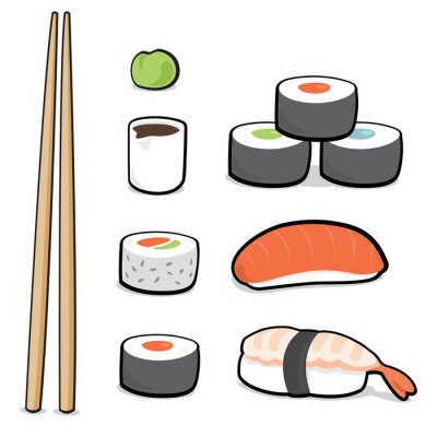 Fototapeta Cartoon zestaw sushi