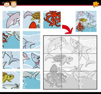 Fototapeta Cartoon zwierzęta puzzle gry