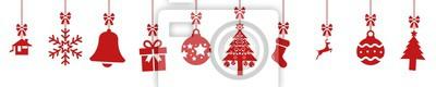 Fototapeta cb47 ChristmasBanner - german - Hängende rote nahtlose Weihnachtsdekoration - english - red seamless christmas decoration border (christmas sock) - banner 5to1 - xxl g8522