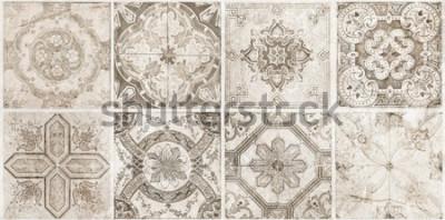 Fototapeta cement texture decorative backround, retro tiles