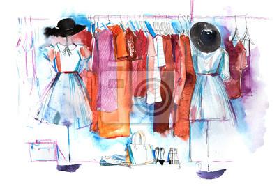 Fototapeta Centrum handlowe sklep ubrania wystawa odzież wystawa wieszak na ubrania akwarela