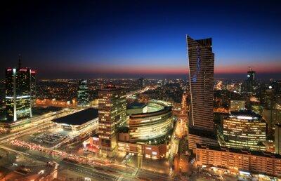 Fototapeta Centrum Warszawy o zachodzie słońca
