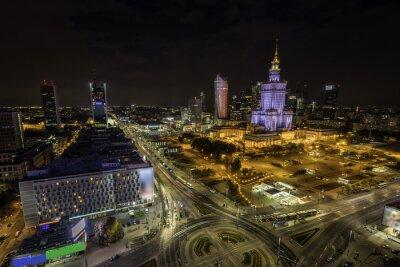 Fototapeta Centrum Warszawy w nocy z lotu ptaka, Polska