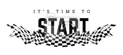 Fototapeta Checkered flag with the word Start. T-shirt design on white