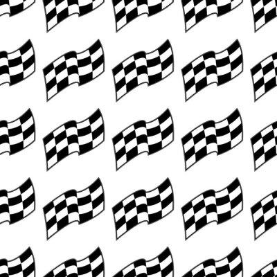 Fototapeta Checkered wy? Cigowych flagi, czarno-bia? Y bezszwowych wzór, wektor t? A