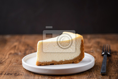 Fototapeta cheesecake, cake, cheese, delicious, dessert, food, slice, sweet, tasty, dark, plain, background, pastry, pie, piece, white, bakery, fresh, plate, baked, homemade, gourmet, cream, closeup, nobody, sna